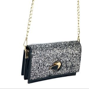 NEW-Glitter Faux Leather Flap Party Crossbody Bag
